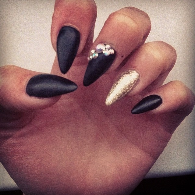 13 matte black and gold nail designs images cute nail