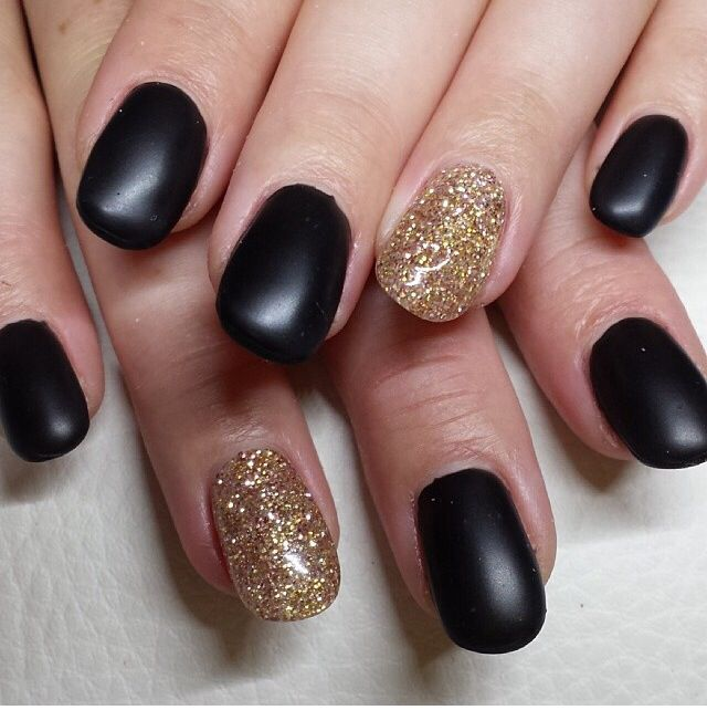 13 Matte Black And Gold Nail Designs Images - Cute Nail Art Designs ...