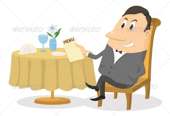 Cartoon Person Sitting at Table