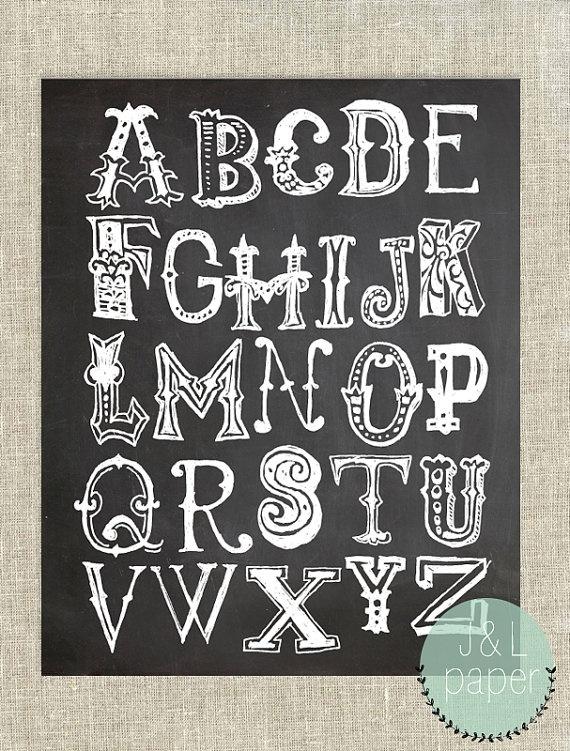 12 Western Letters Font Chalk Art Images