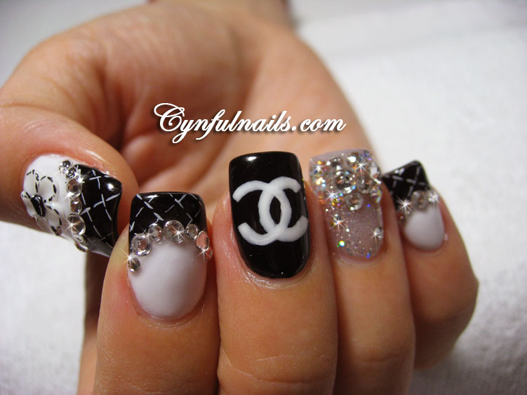 14 Black White Acrylic Nails Designs Images