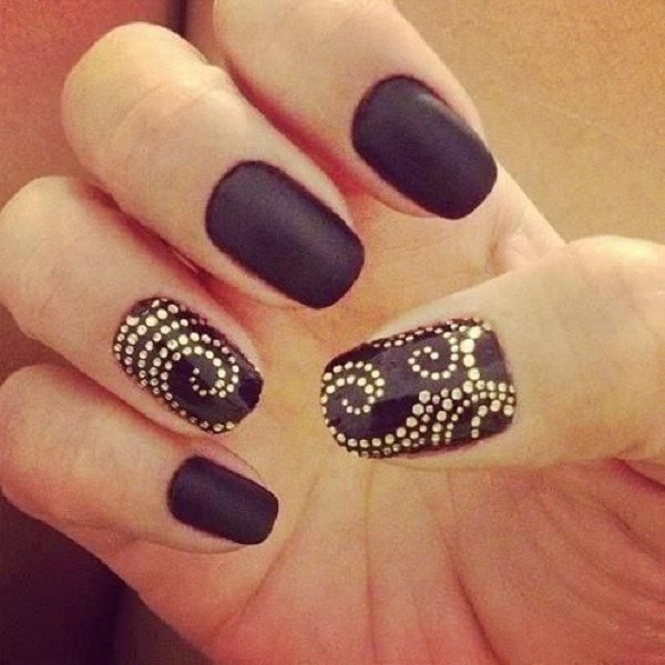 13 Matte Black And Gold Nail Designs Images