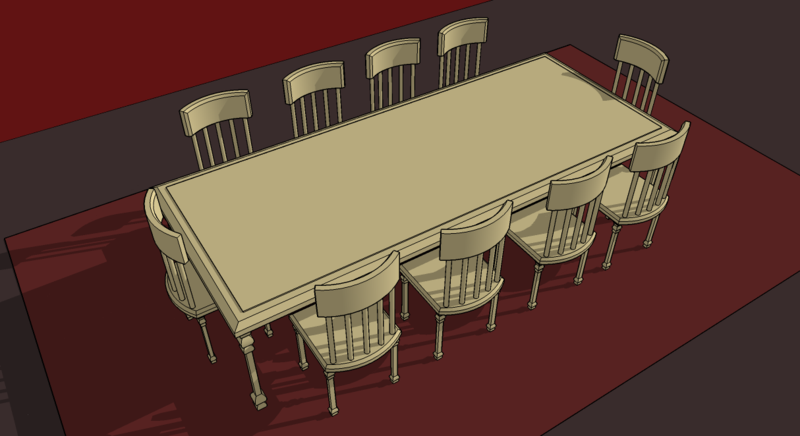 Drawing Top View of Dining Room Tables