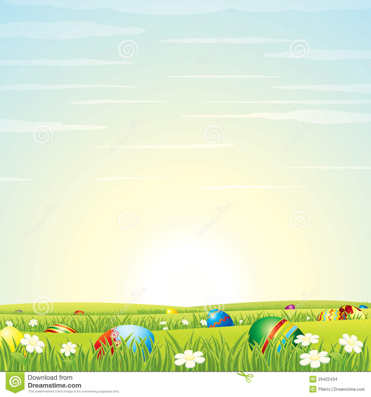 Easter Eggs with Green Grass Background