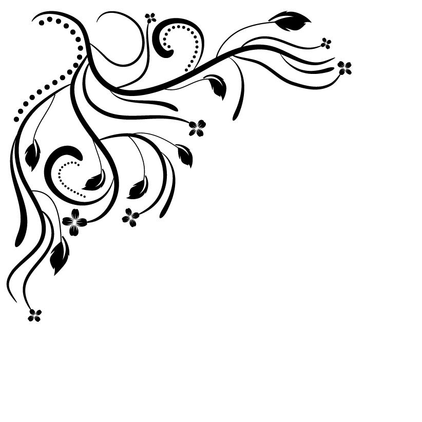 Floral Corner Clip Art Scrolls
