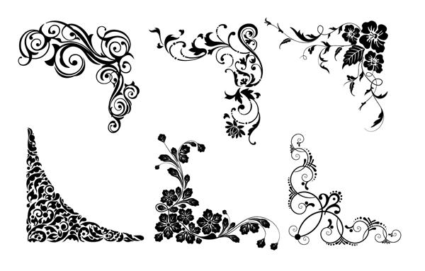 Floral Vector Corner Patterns PNG