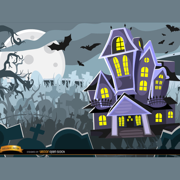 Free Halloween Vector Haunted House