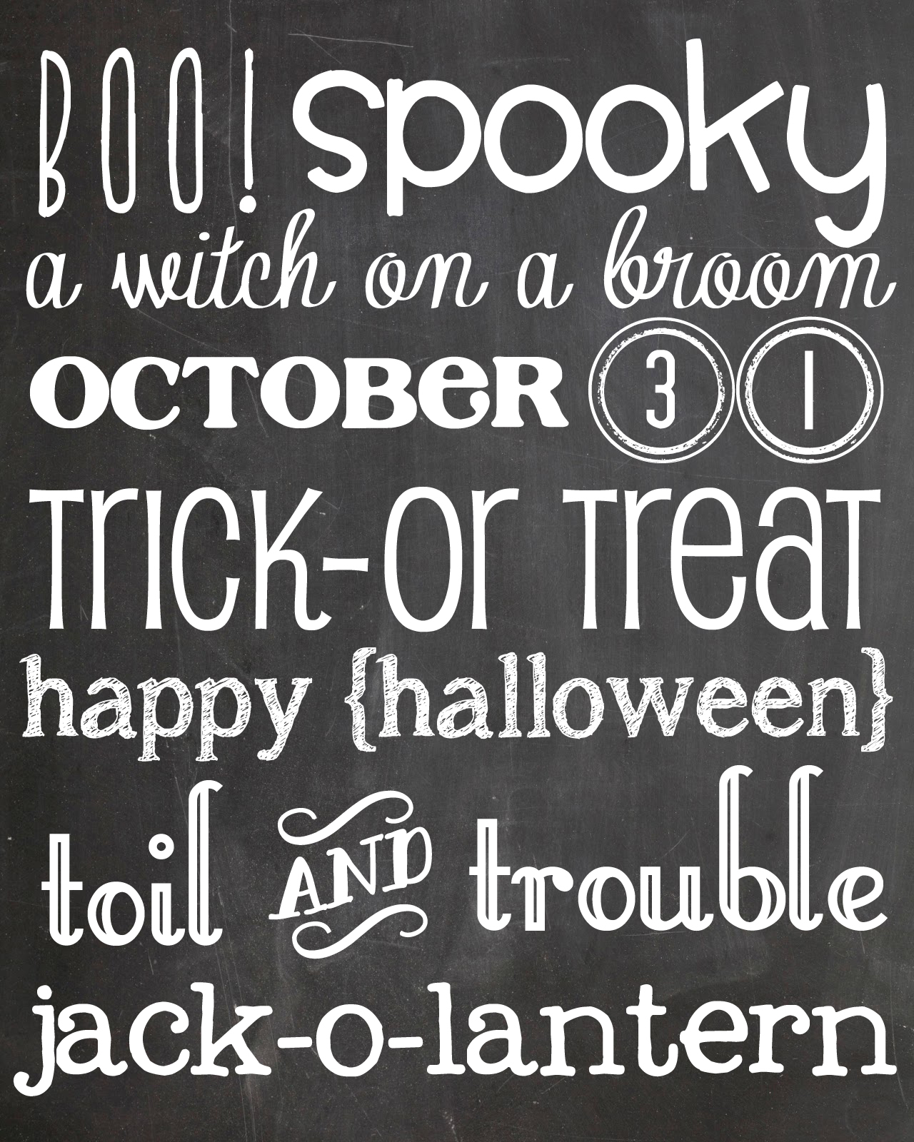 Halloween Chalkboard Printable