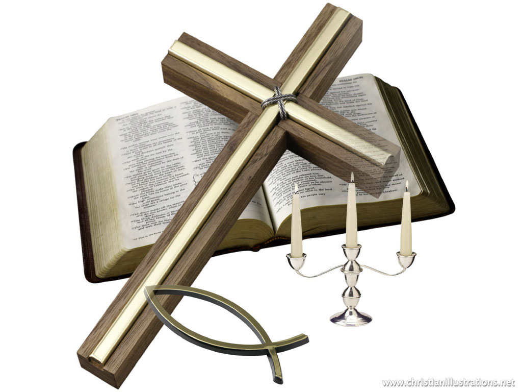 Holy Bible with Cross Clip Art