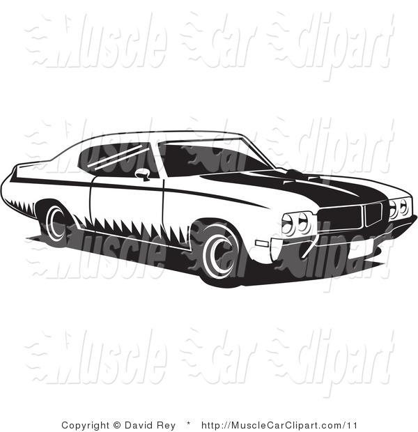 Muscle Car Clip Art Black and White
