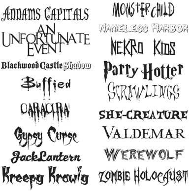6 Different Fonts Scary Images