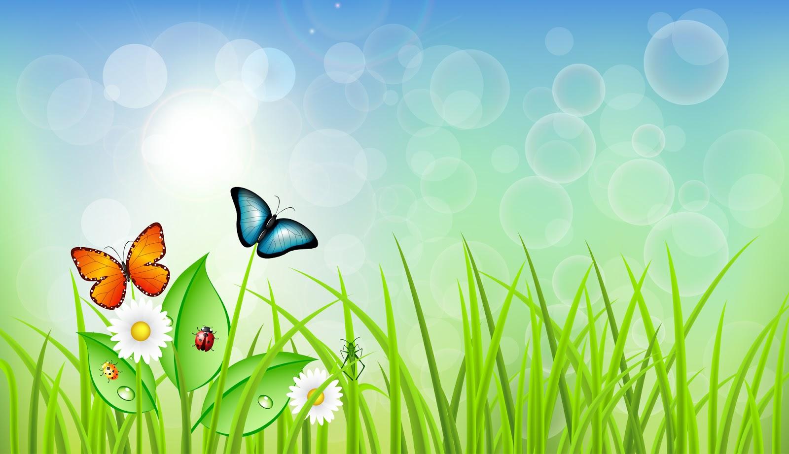 Spring Grass with Butterflies