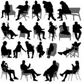 Vector People Silhouettes Sitting