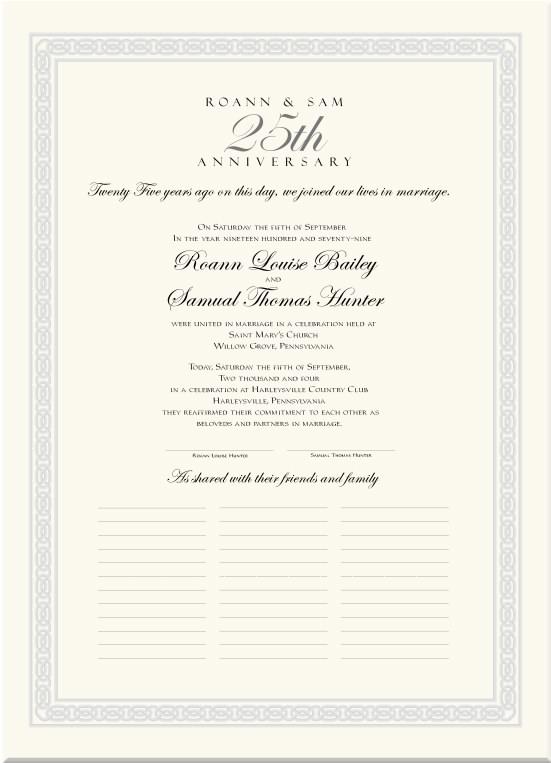 Wedding Anniversary Certificate