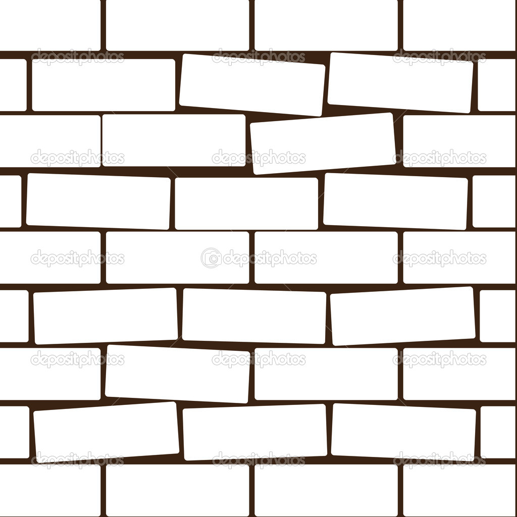 Wall Design Clipart : White brick wall vector images black and