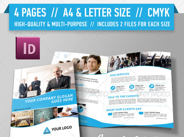 4 Page Brochure Template. a5 landscape 4 page brochure corporate ...