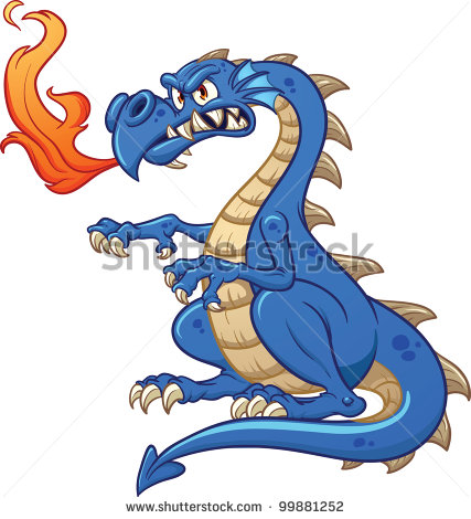16 Blue Vector Cartoon Dragons Images