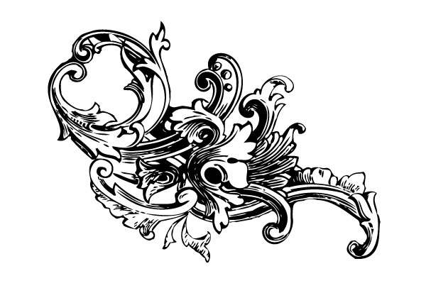 17 Baroque Flourish Border Vector Images