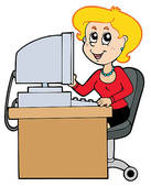 Cartoon Busy Secretary Clip Art