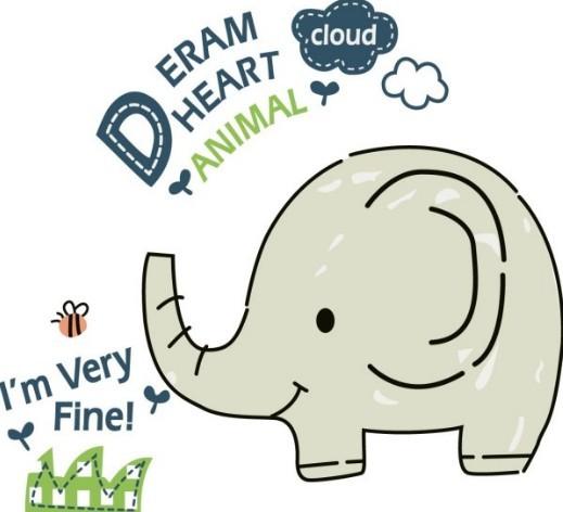 13 Cute Cartoon Elephant Vector Images