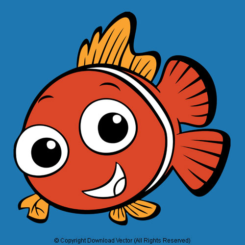 Cartoon Orange Clown Fish