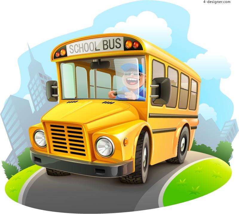 12 Cartoon School Bus Vector Images