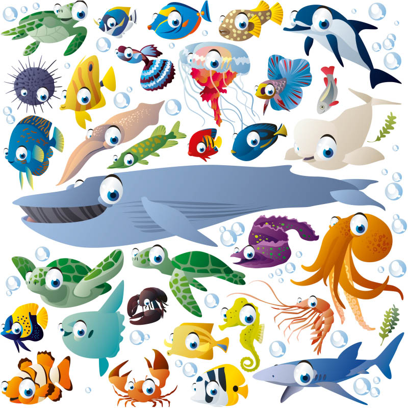 Cartoon Sea Creatures and Fish