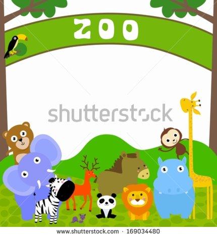 Cartoon Zoo Animal Borders