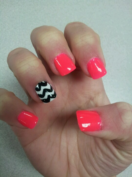 Coral Chevron Nail Designs