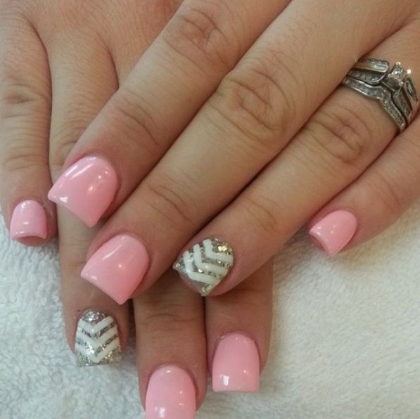 Cute Acrylic Nails Chevron
