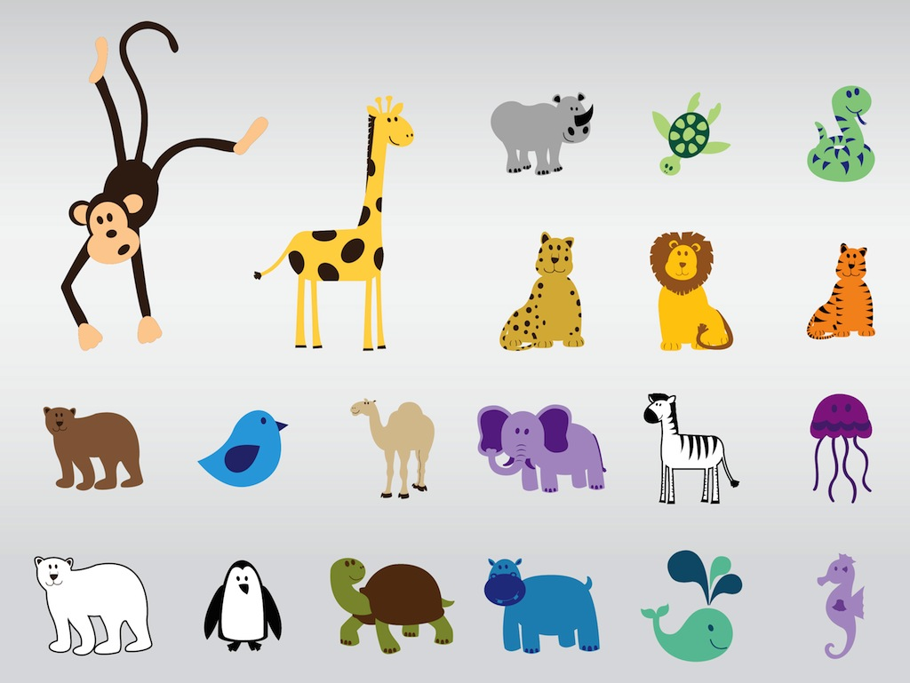 15 Zoo Animal Vectors Images