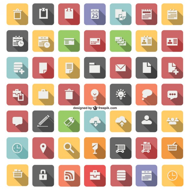 12 Flat Icon Vector Drawing Images