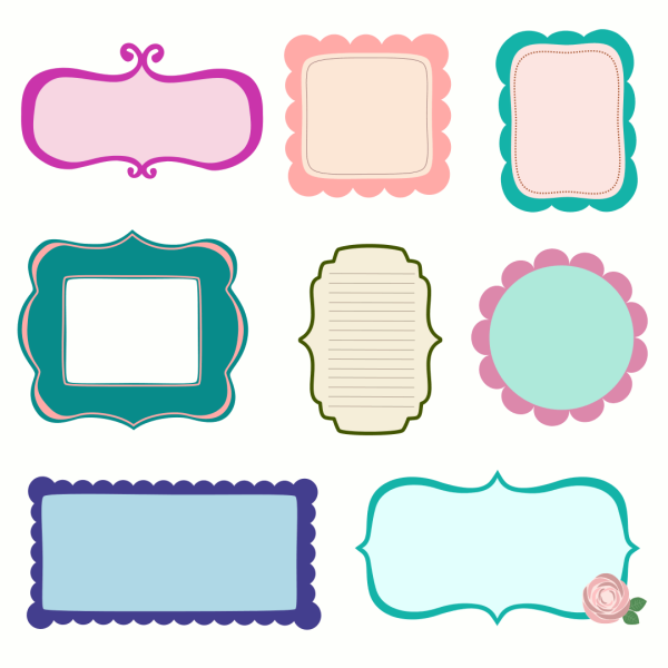 9 Scrapbook Vector Frames Labels Images
