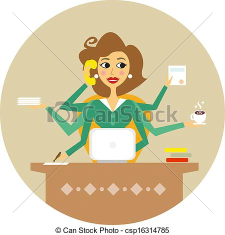 Hard Working Woman Clip Art