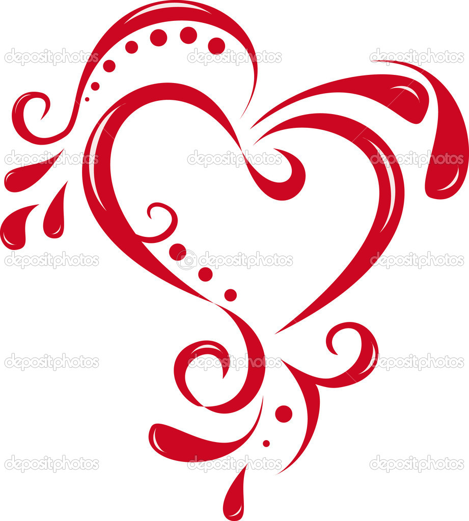 12 abstract vector heart swirls images abstract vector