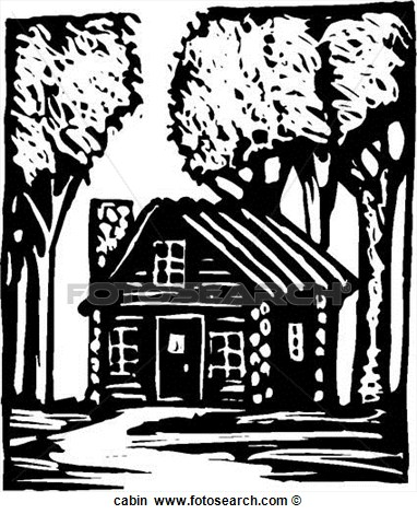 Log Cabin Clip Art Black White