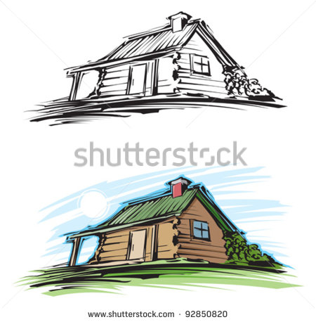 Log Cabin Clip Art Vector