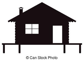 Log Cabin Silhouette Vector Clip Art