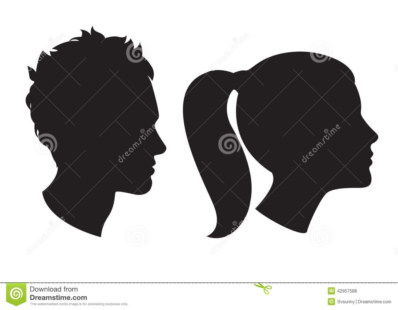 Man and Woman Head Silhouette