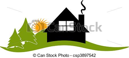 Mountain Cabin Clip Art Vector