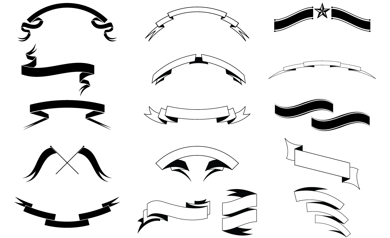 12 Ribbon Banner Outline Vector Images