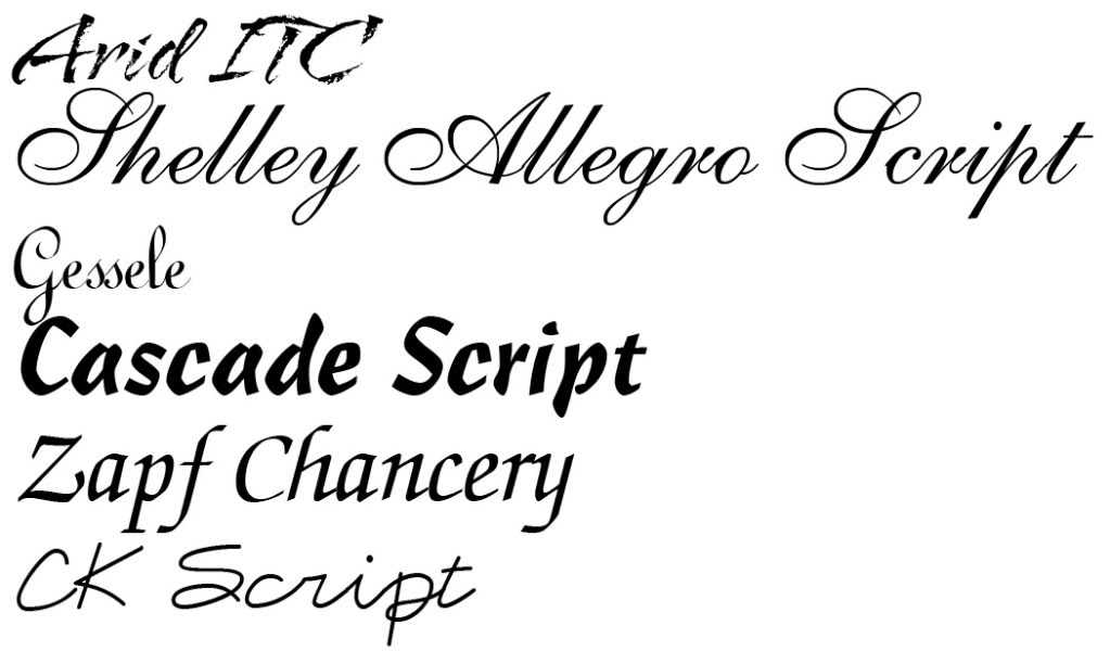 Script Type Font Examples