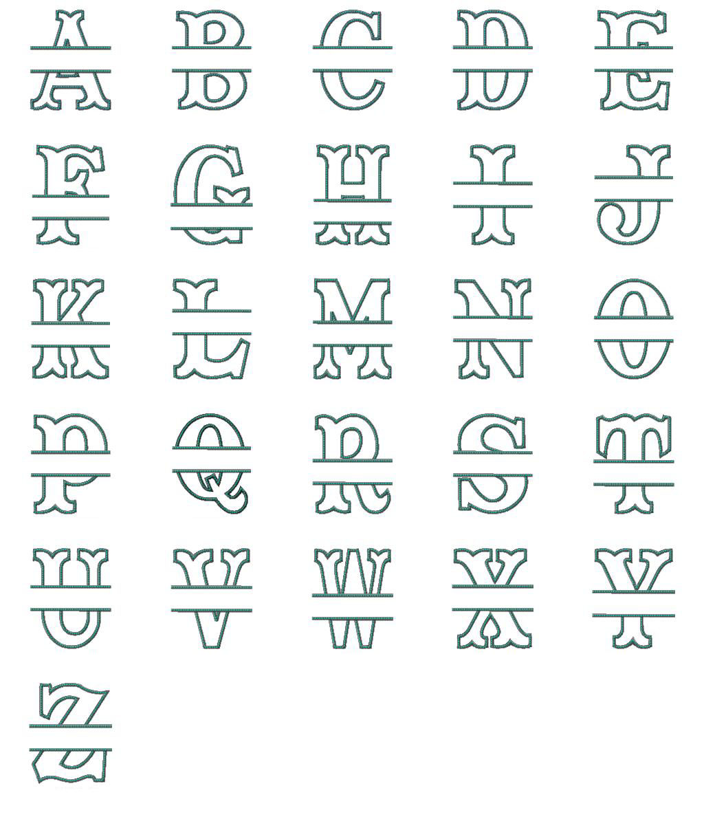 Split Letter Applique Font
