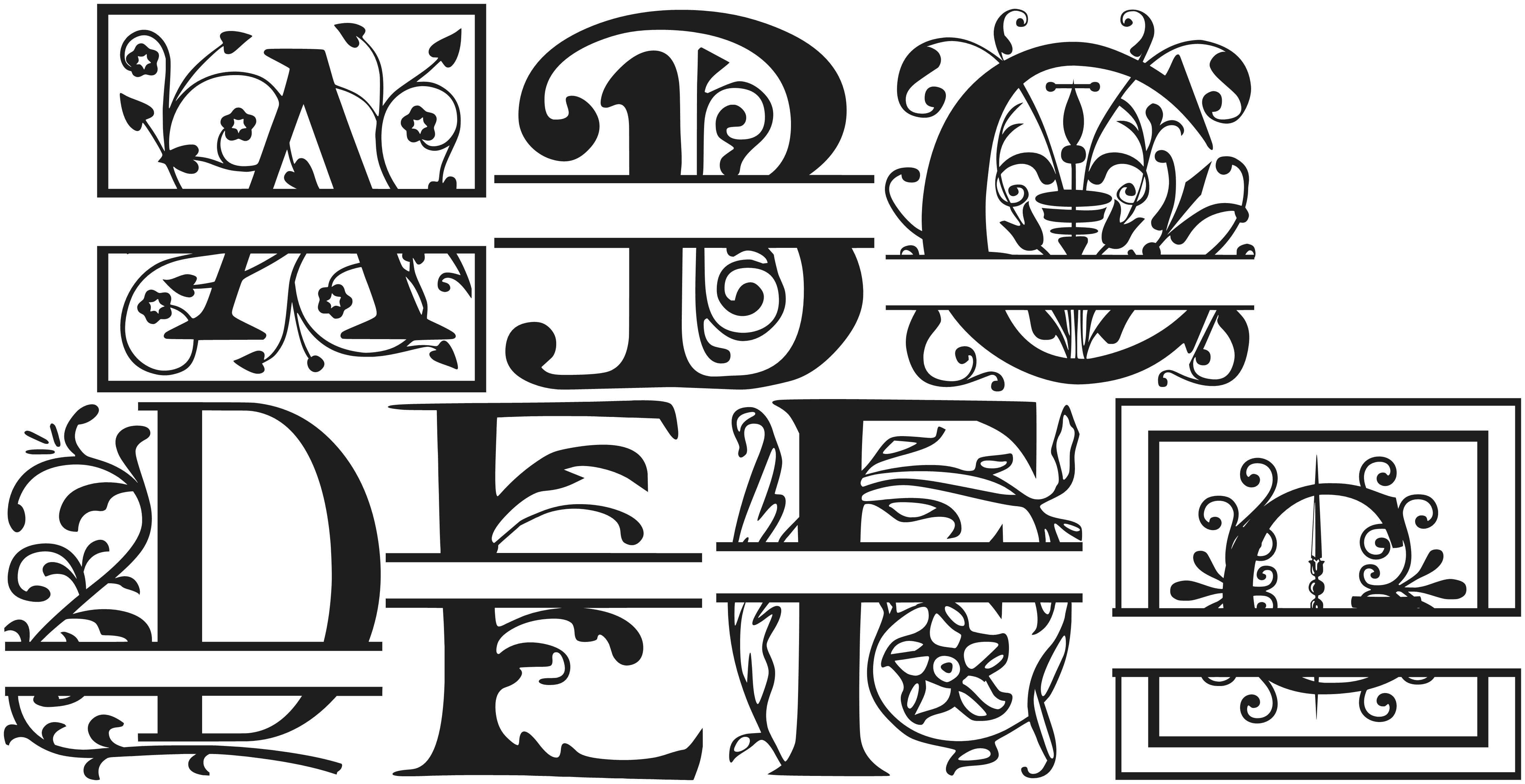 Split Letter Monogram Fonts Free