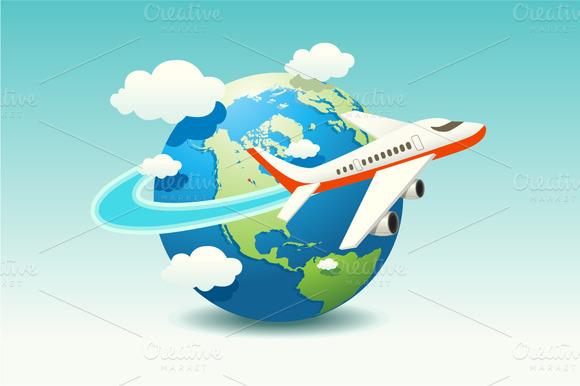 Travel Airplane Illustration