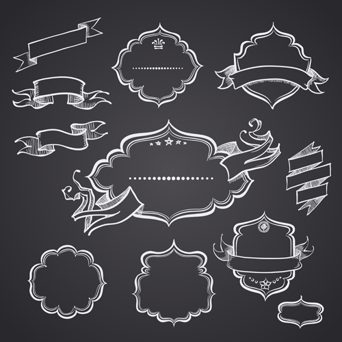 16 Ornaments Frame Vector Black And White Images
