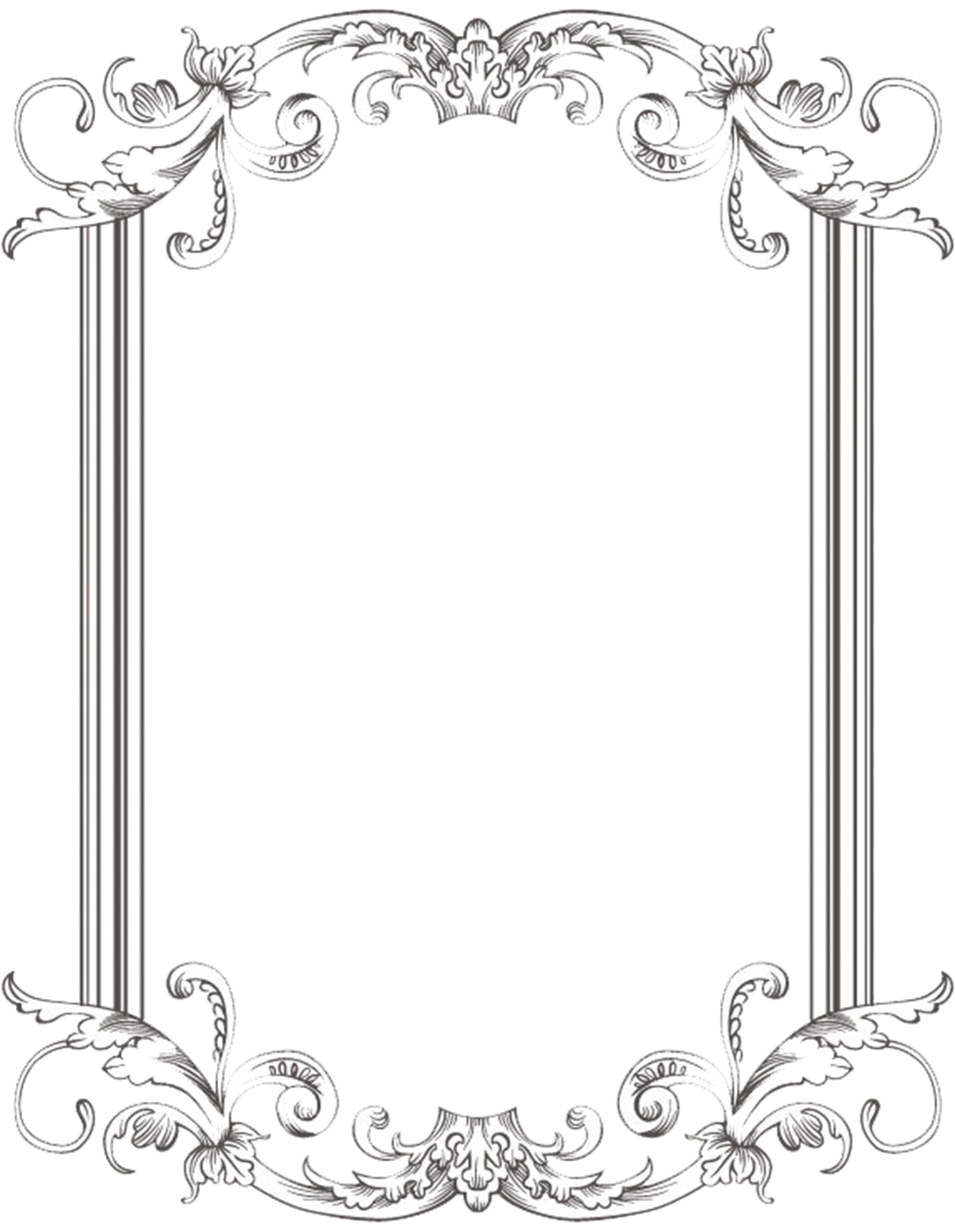 15 Black Vintage Frame Vector PNG Images - Black and White ...