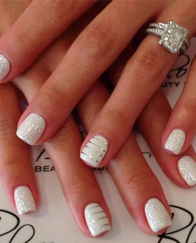 15 White And Silver Wedding Nail Designs Images