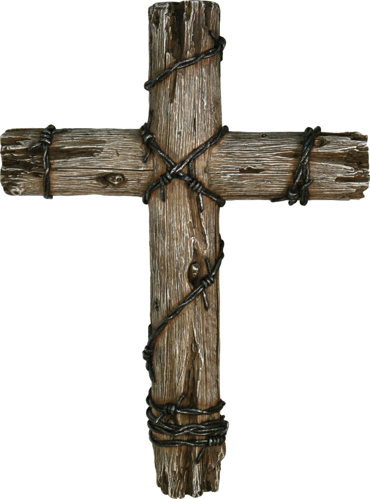 Wooden Cross with Barbed Wire