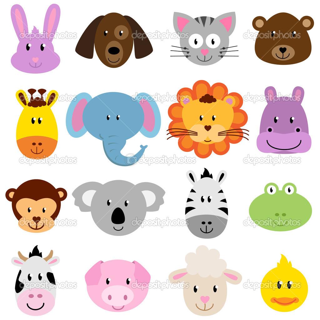 Zoo Animal Faces Clip Art